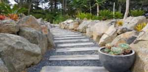 Hardwood sleeper steps on natural designed path