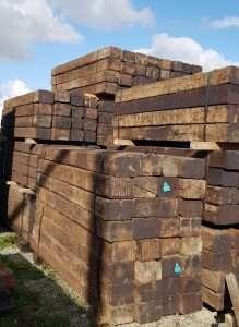 American Oak railway sleepers bundled and stacked