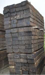2.6 meter sleepers bundled and stacked vertically